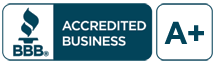 Better Business Bureau A+ Seal for Bob's Granite Place, Epsom, New Hampshire.