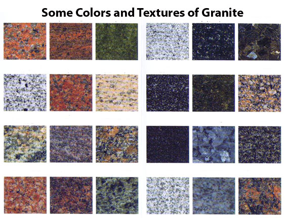 Some Of The Many Colors And Textures Granite